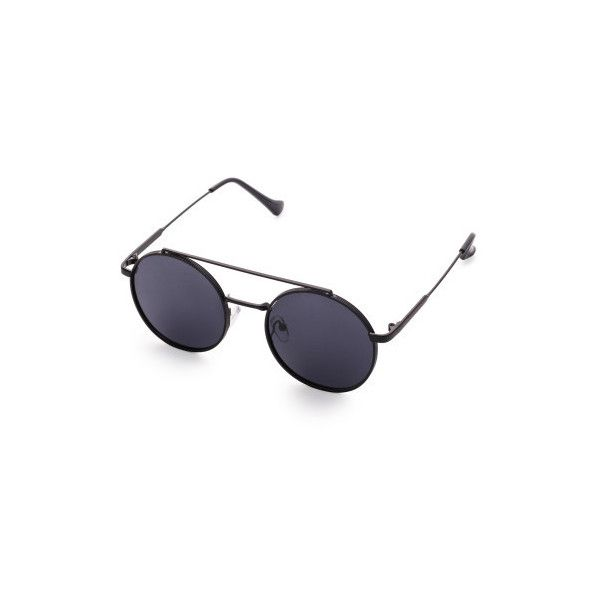 e8627a5dfb SheIn(sheinside) Black Frame Flat Lens Double Bridge Round Sunglasses ( 11)  ❤