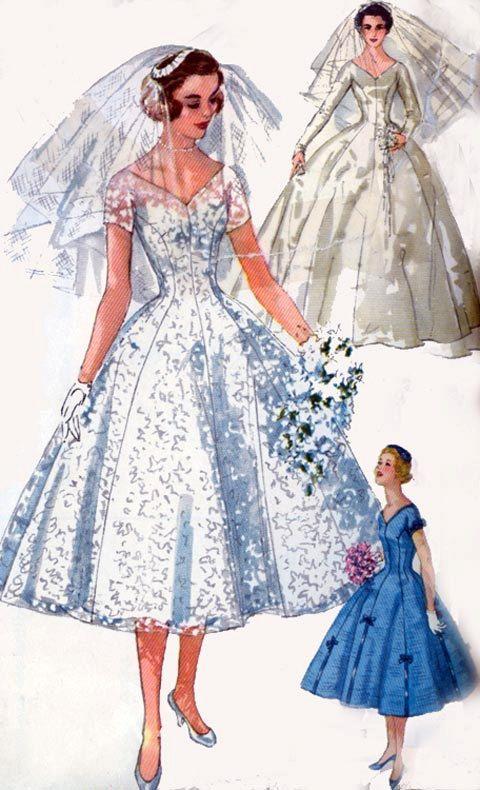 Vintage 50s Simplicity 1461 Princess Brides | Dress | Pinterest ...