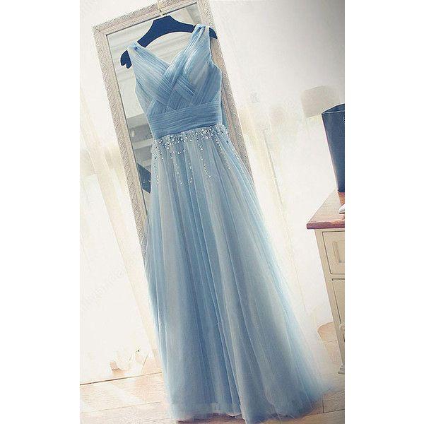 Sky Blue A Line V Neck Tulle Floor Length Beading Long Prom Dress ($129)