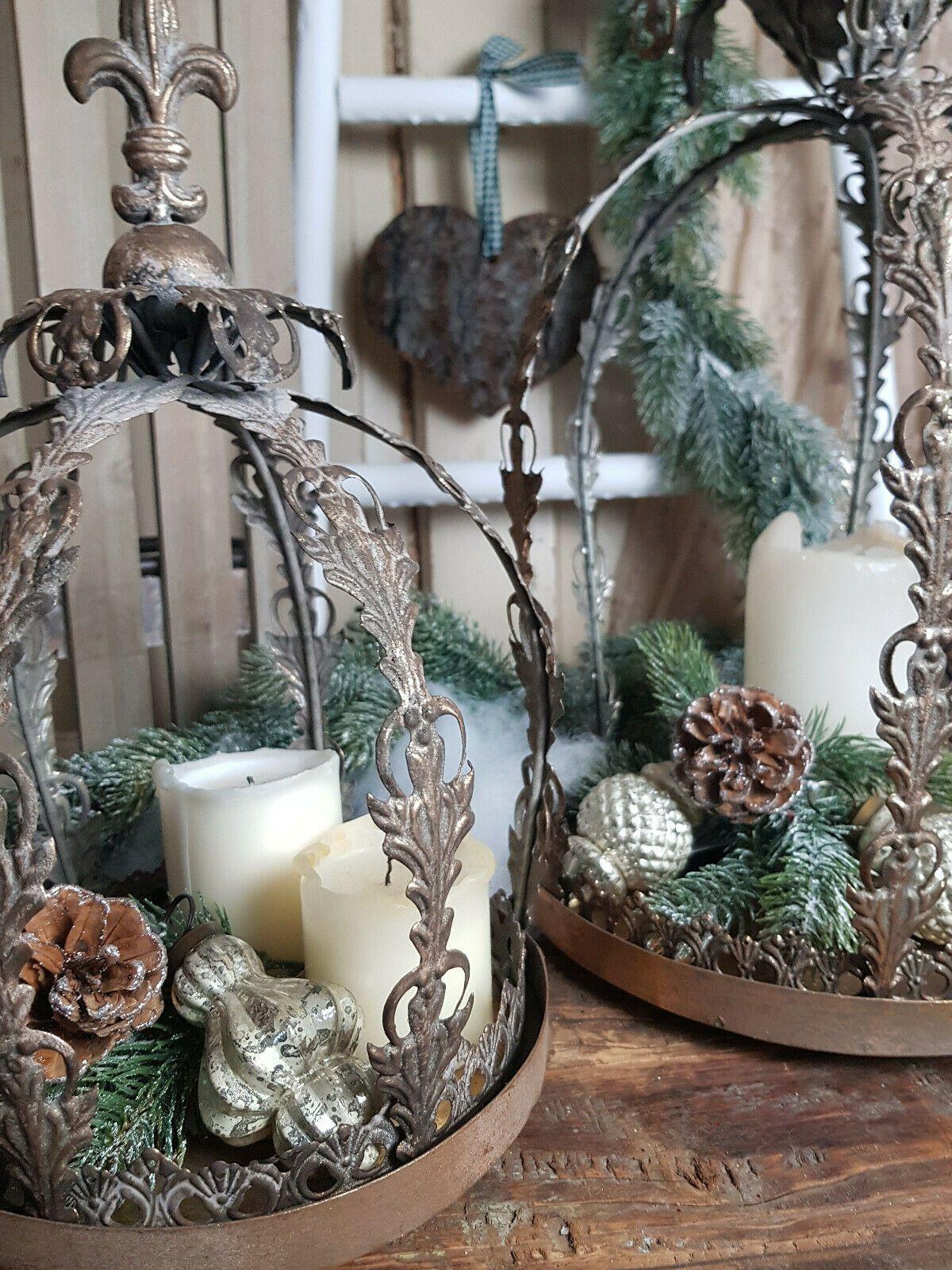 Kerzenleuchter Krone Lilie Metall Shabby Vintage Landhaus