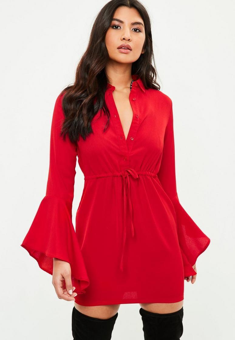 Red tie waist shirt dress fashion pinterest dress online drop