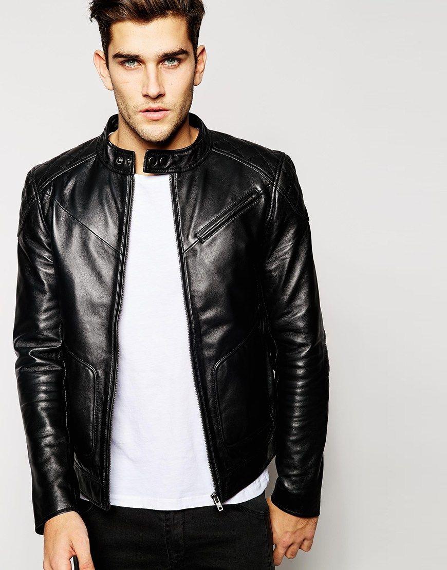 Barneys Leather Shoulder Patch Biker Jacket Jackets Coats Tee Male Indonesia Slub Black Hitam M 233image 1 Of Mens
