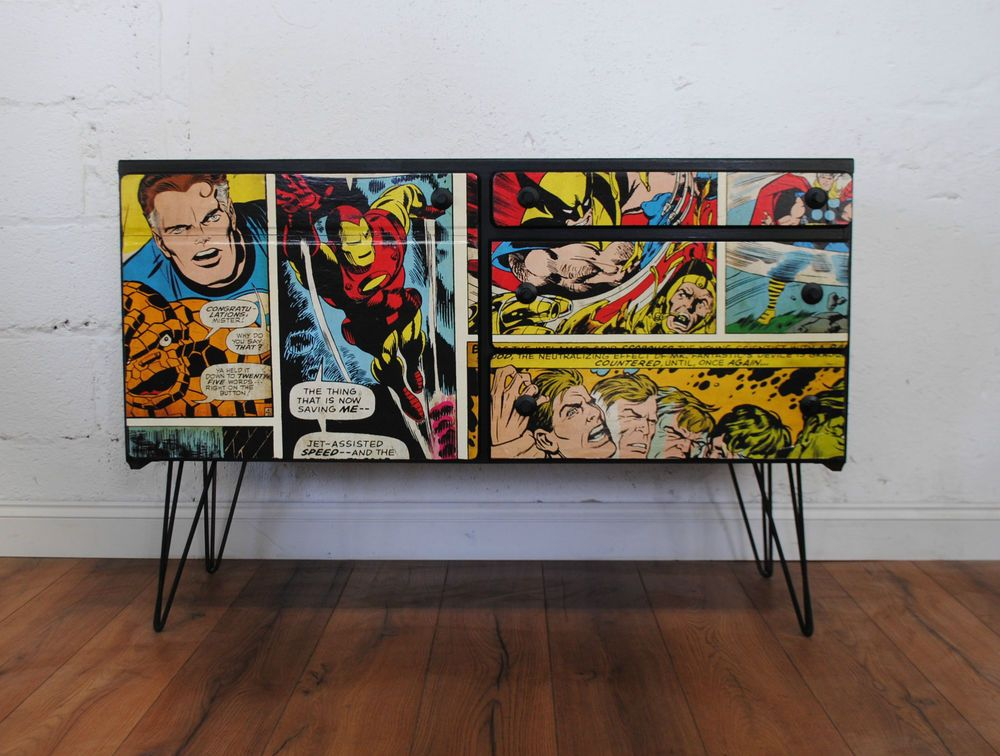 Upcycled Vintage Retro McIntosh Tv Sideboard Drawers Marvel Comic Super Hero