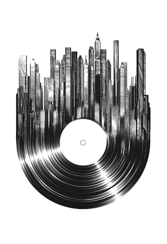 Nice Vinyl Record Graphic Dj Tattoo Vinyl Art Vinyl