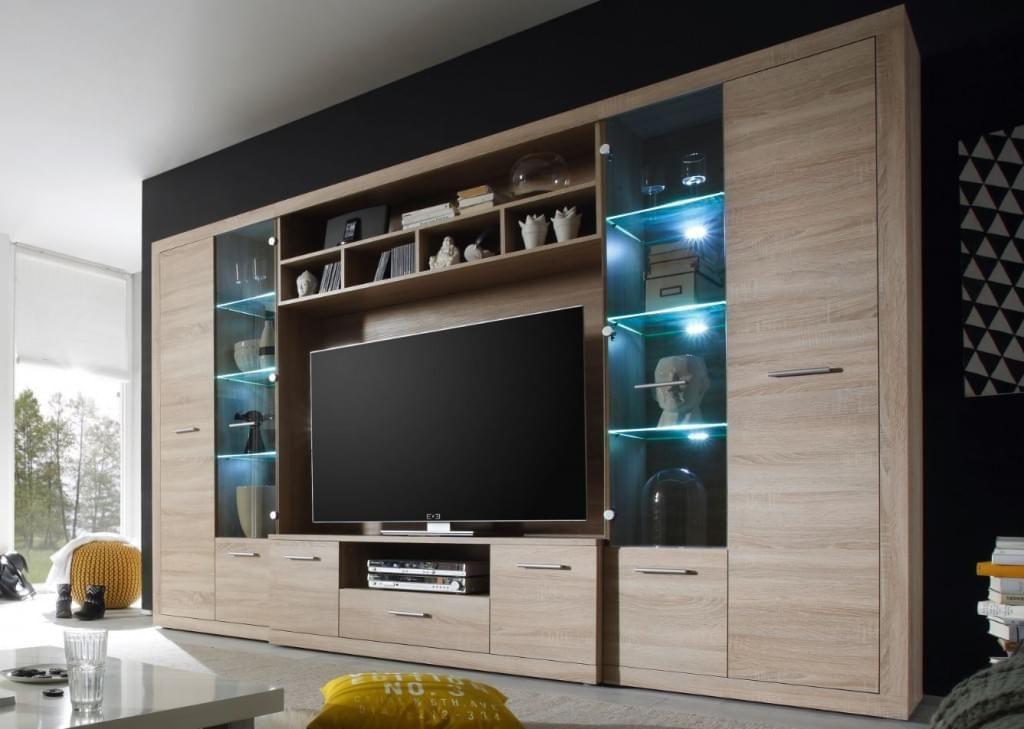 High Wohnwand Anbauwand Wohnzimmerset Eiche Sonoma Inkl Beleuchtung Wohnzimmer Set Wohnen Wohnzimmerschranke