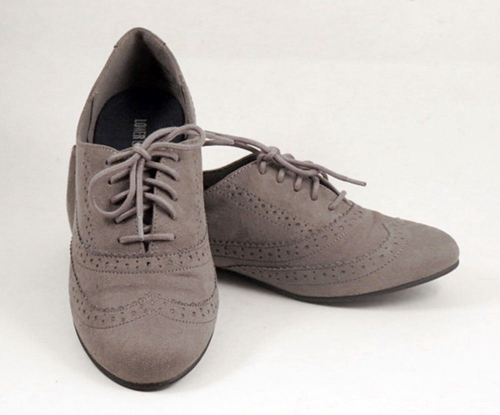 a160d9a379f78 Womens Size 8.5 Grey Suede Oxfords Flat Lower East Side Shoes Tie Wingtips   LowerEastSide  Oxfords