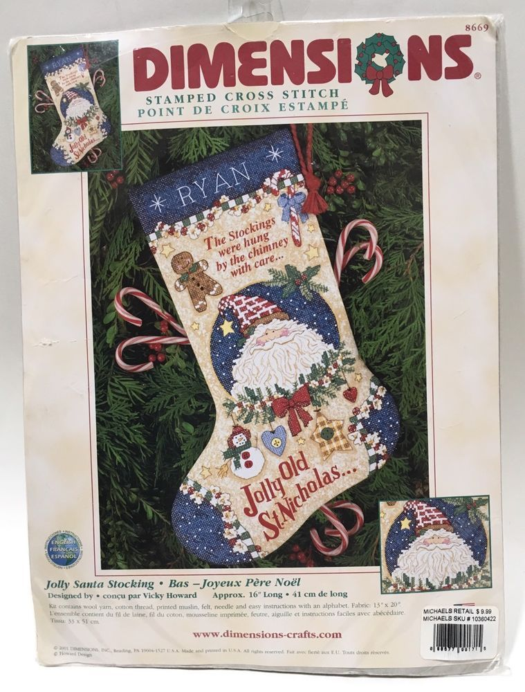 Dimensions Christmas Stocking Kit Stamped Cross Stitch Jolly Santa