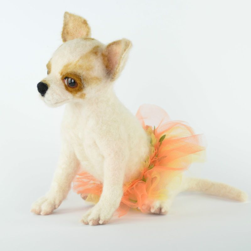 Chihuahua Puppy Rosie Needle Felted Dog Figurine Ooak Toby Award