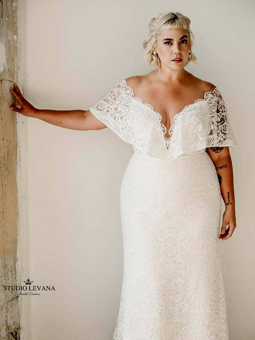 Bohemian Light Plus Size Wedding Dress With Deep V Neckline And Short Flutter Sleeves With F Beautiful Bridal Dresses Plus Wedding Dresses Cheap Bridal Dresses [ 1182 x 887 Pixel ]