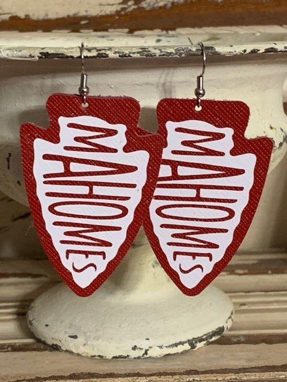 Photo of Leather Earrings, Leather Jewelry, Kansas City Chiefs, Mahomes, Chiefs Kingdom, Football, NFL, Statement Earrings, 100% Leather, Arrowhead