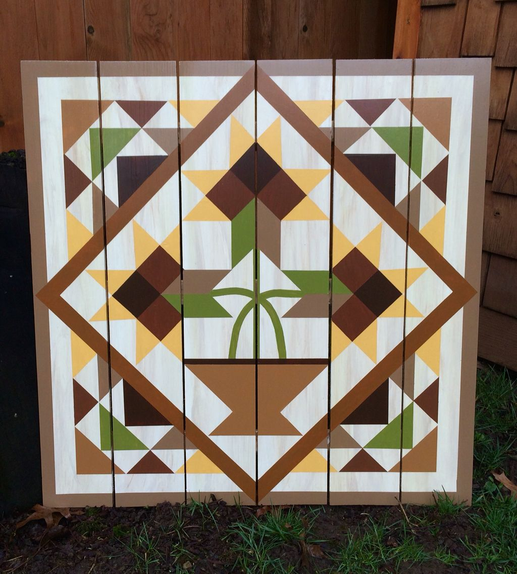 Flower Pot Barn Quilt | Barn Quilts | Painted barn quilts