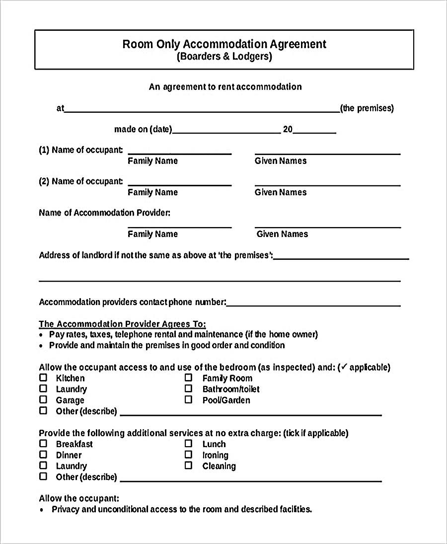 Pdf Format Accommodation Room Rent Agreement Free Download