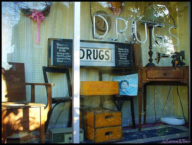 Haddon Pharmacy Vintage Window Display By Harpo42 Via Flickr Window Display Vintage Windows Shop Window Displays