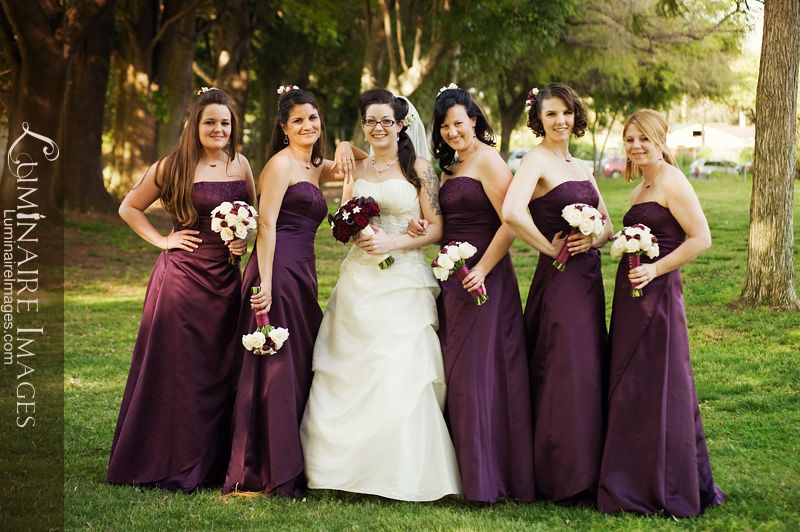 Purple Burgundy Strapless Bridesmaid Dresses White Floral Accents