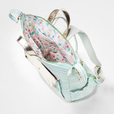 Backpack Diaper Bag Mint Stripes Gray