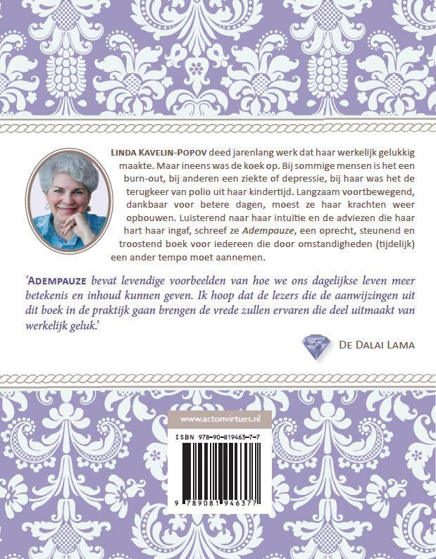 Omslag 'Adempauze' (back) door Linda Kavelin Popov. Gemaakt door Annelies Wiersma, Uitgeverij ACT on Virtues