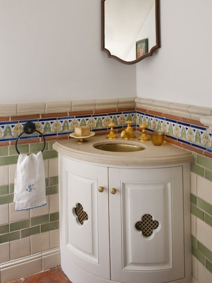 Mediterranian Corner Bathroom Vanity With Undermount Sink And Mirror