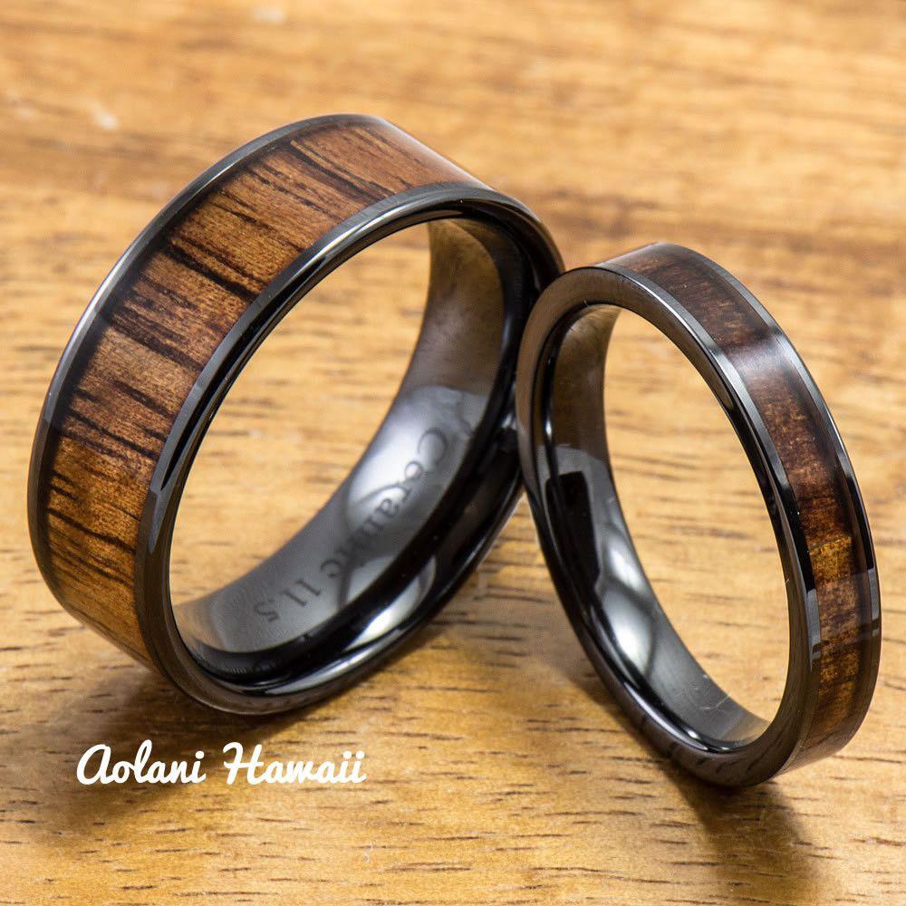 Wedding band set of ceramic rings with hawaiian koa wood inlay mm