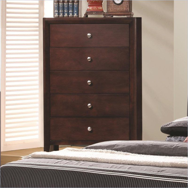 Coaster Serenity 5 Drawer Chest In Rich Merlot And Brushed