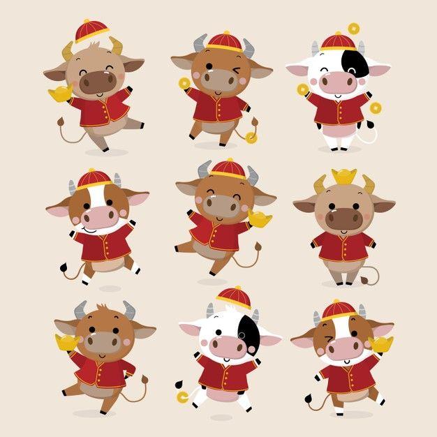 Happy Chinese New Year Greeting Card.  Ox Zodiac.