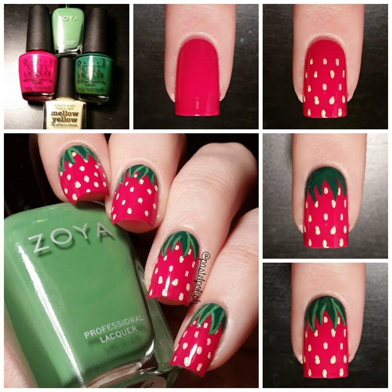 This nail tutorial uses green and pinky red nail polish shades to this nail tutorial uses green and pinky red nail polish shades to create a strawberry prinsesfo Gallery