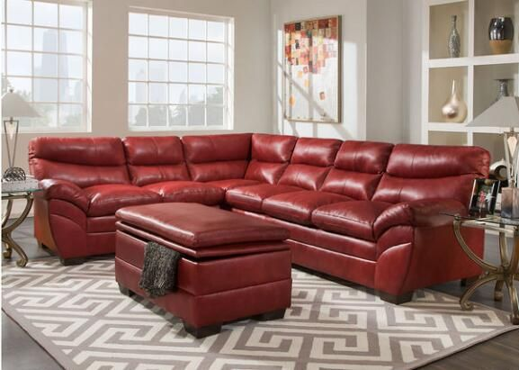 Kara 3 Pc Laf Sectional Red Clearance Couches For Sale The Room Place Sofa