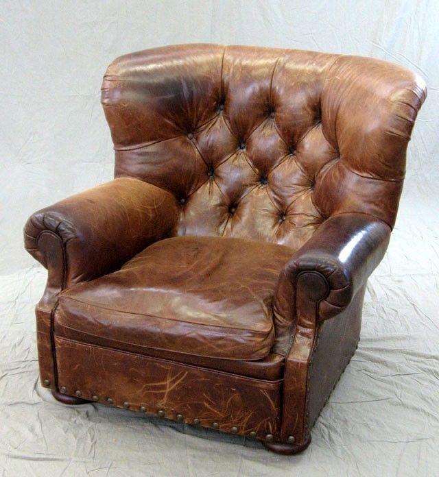havertys distressed leather nailhead large sofa   distressed/old leather chair   Leather club chairs, Living ...