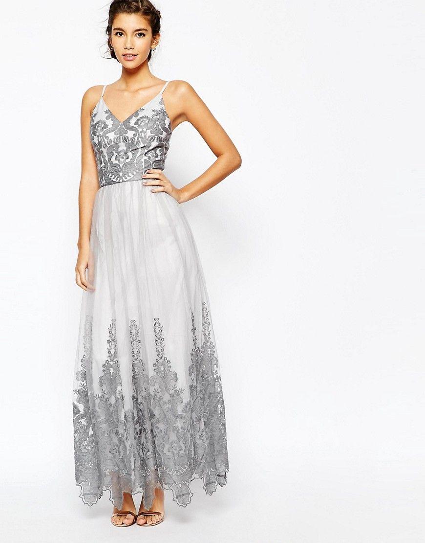 Image of chi chi london cami strap premium lace maxi tulle prom