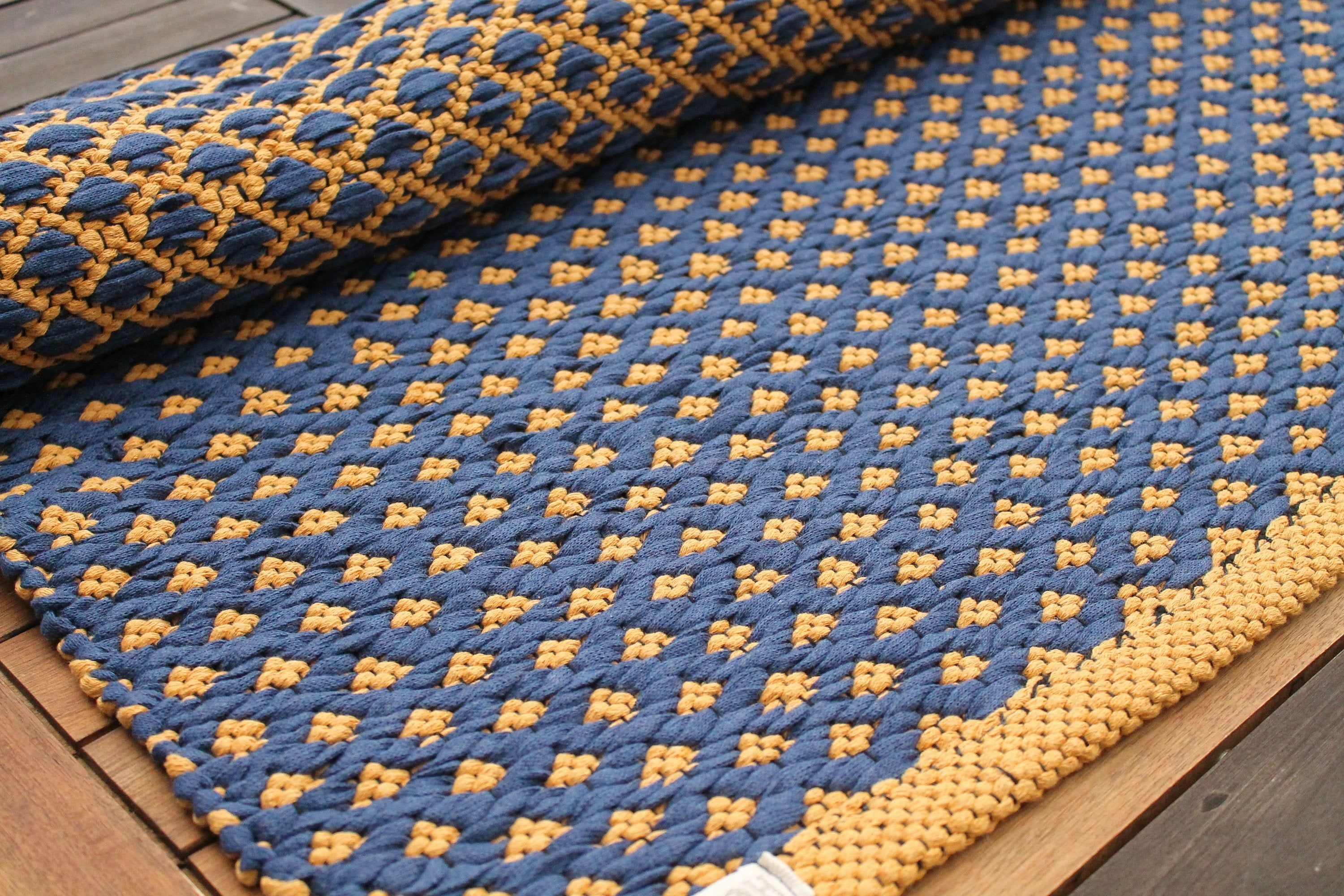 Navy Blue And Mustard Geometric Runner Rug Kitchen Runner Rug