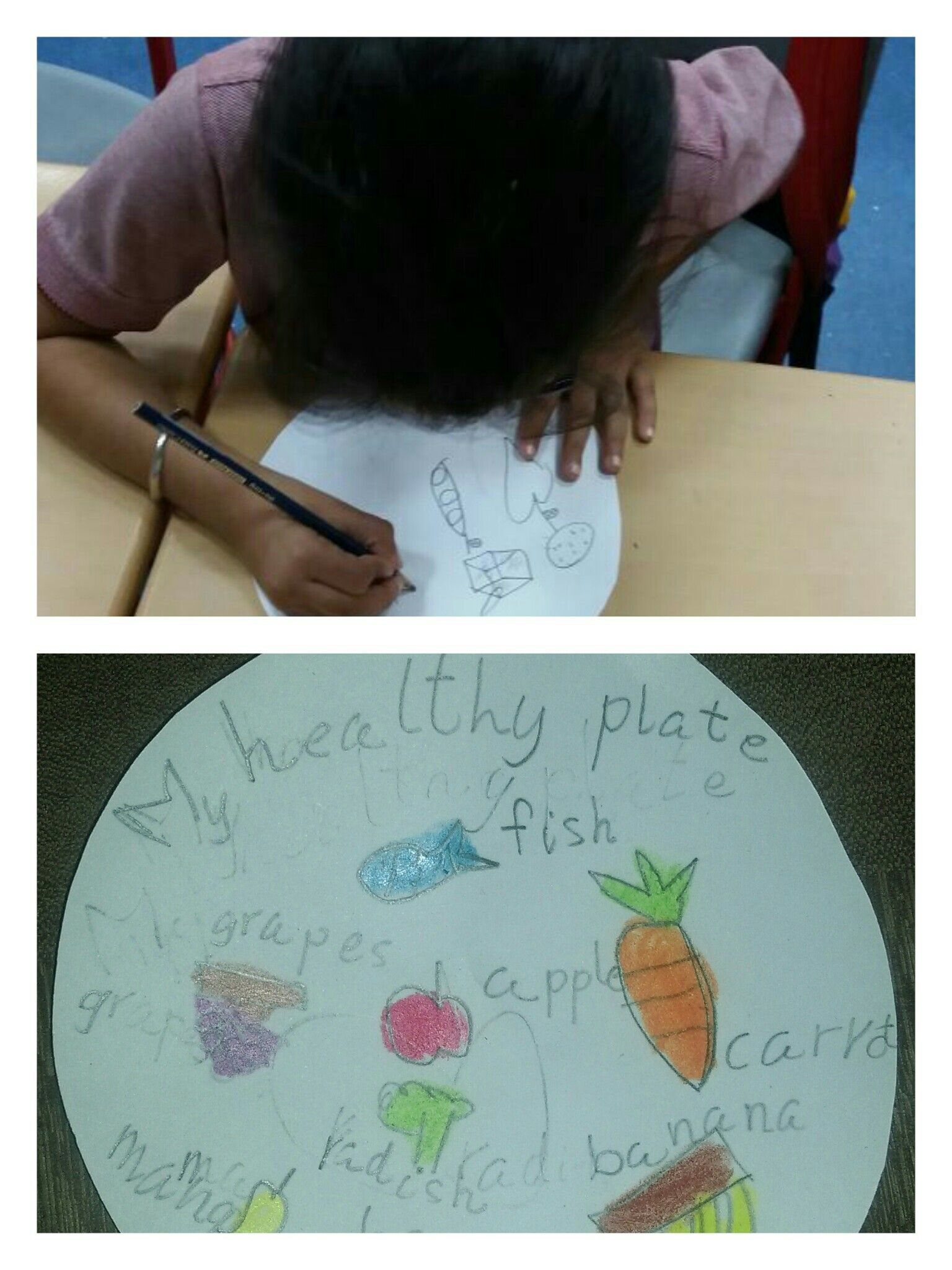 The learners created their healthy plate by drawing food