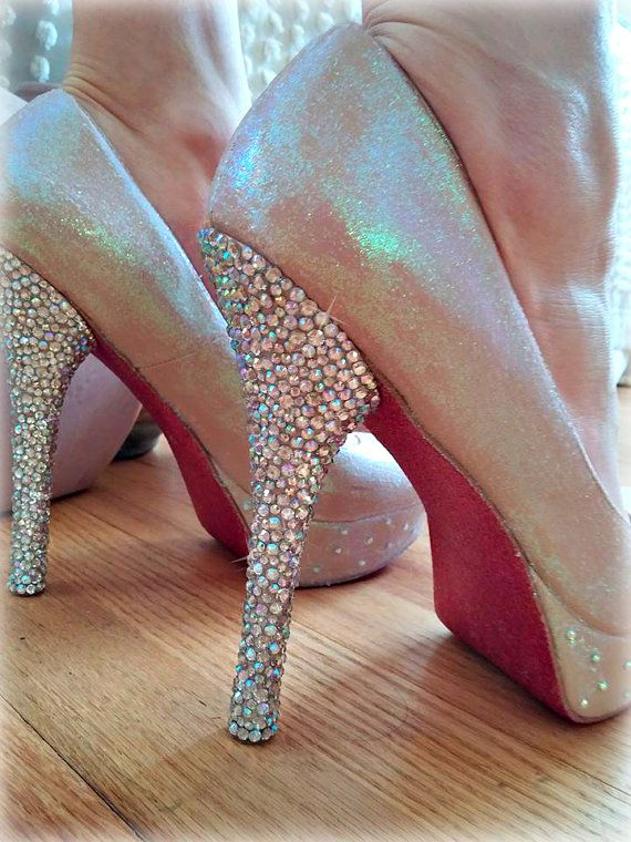 Crystal Glitter Heels Tan Pink Iridescent Party Shoes Shines