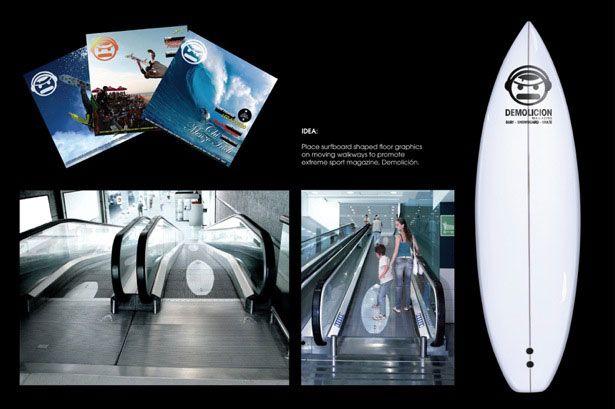 surfboard shaped sticker on a moving walkway| Webdesigner Depot