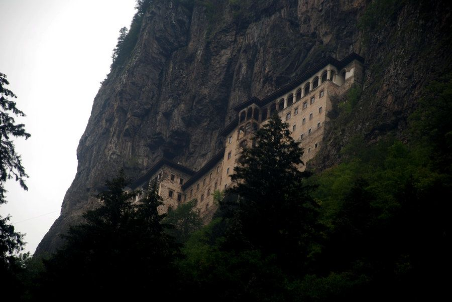 The Sumela Monastery is a Greek Orthodox monastery dedicated to the Virgin Mary at Melá Mountain within the Pontic Mountains range, in the Maçka district of Trabzon Province in modern Turkey.