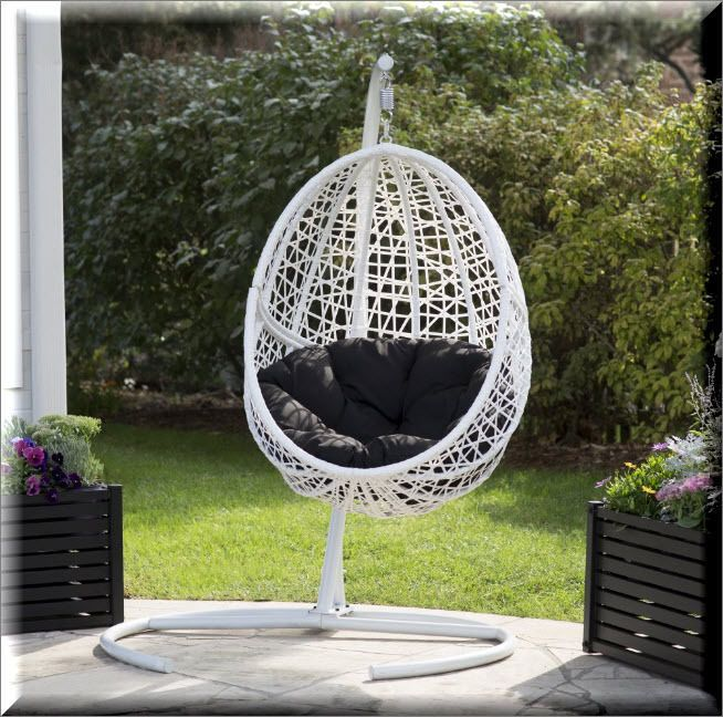 hanging wicker egg chair with stand black cushion outdoor patio porch swinging ebay - Hanging Wicker Chair