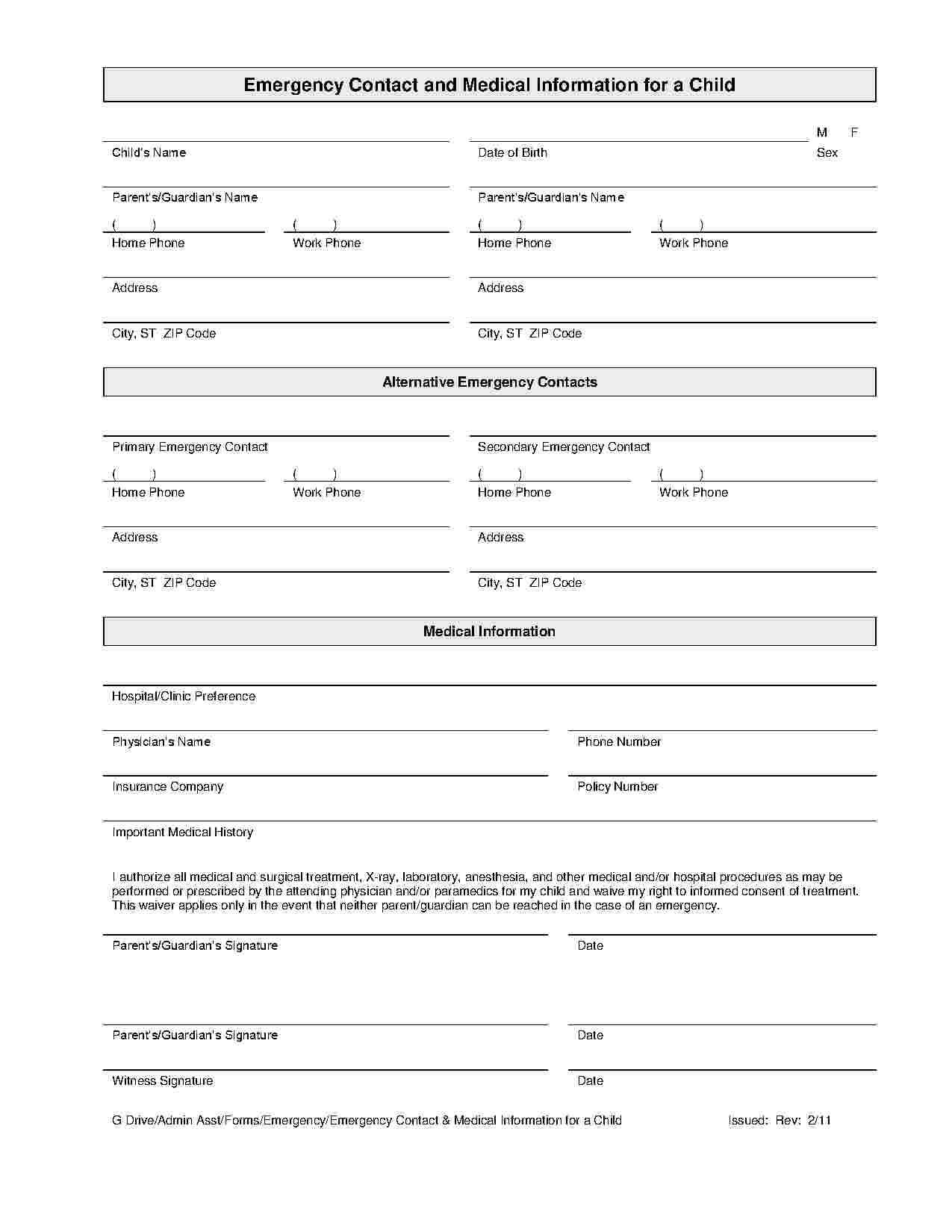 Child Medical Consent Emergency Contact Form Student
