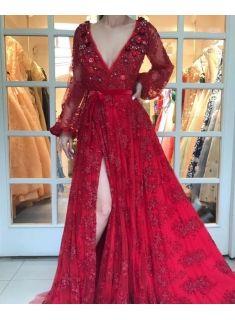 luxury rot abendkleider spitze lang Ärmel a linie abendmoden abiballkleider günstig modellnummer
