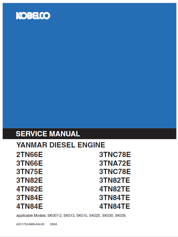 Yanmar 2tn 3tn 4tn Engine Workshop Service Manual Engineering Manual Workshop