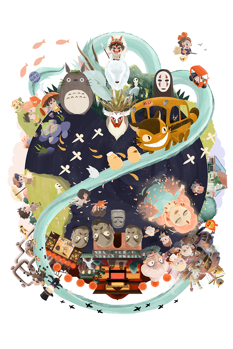 Miyazaki World Is A Flowing Composition Featuring Some Of Hayao Miyazaki S Most Memorable Films A Ghibli Artwork Studio Ghibli Poster Studio Ghibli Characters