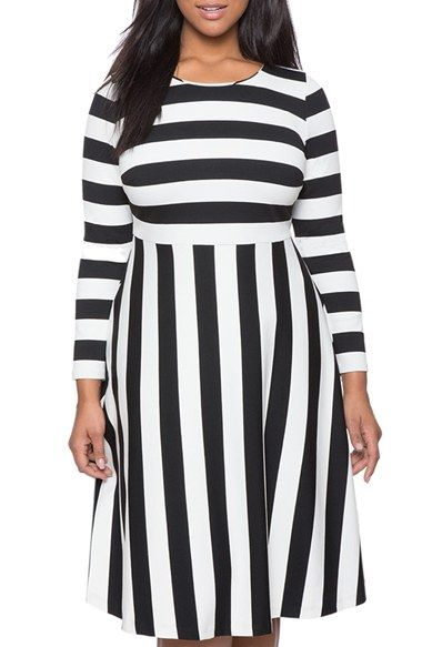 ELOQUII Stripe Midi Fit & Flare Dress (Plus Size) available at ...