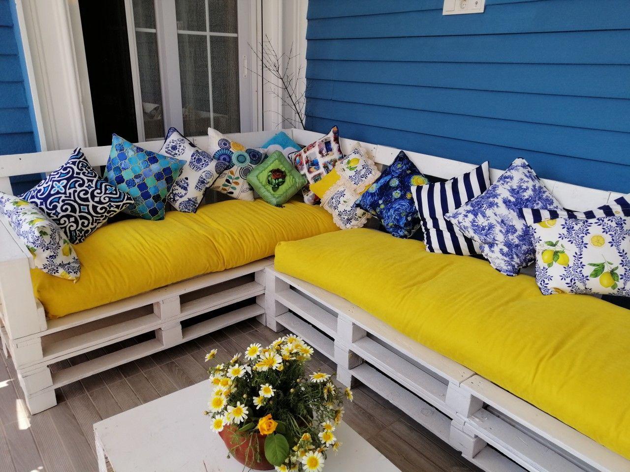 veranda takimi yazlik ev dekorasyonu ev bahcesi tasarimi palet mobilya