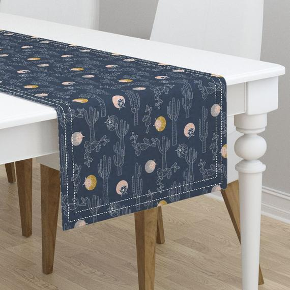 Southwestern Table Runner Indigo Cactus Small By