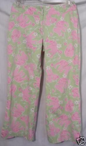 Lilly Pulitzer Green Pink Elephants Capri Pants Size 0 #LillyPulitzer #CaprisCropped
