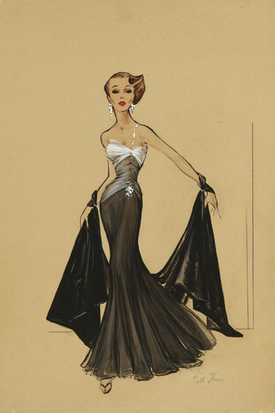 Bill Thomas original signed high fashion costume design ...