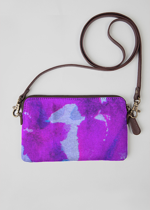 Leather Statement Clutch - Water Lilies by VIDA VIDA