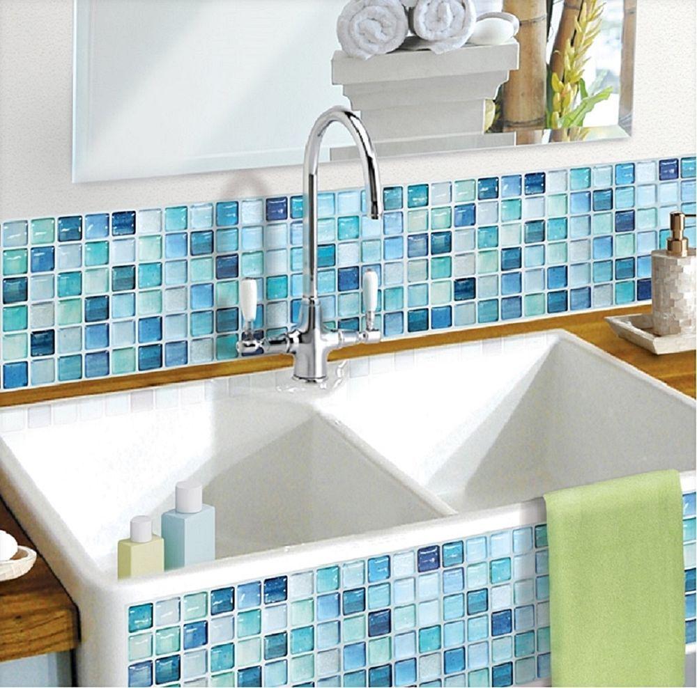 Home Bathroom Kitchen Wall Decor 3D Stickers Wallpaper Art Tile ...