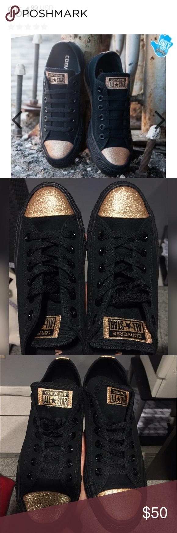 Black \u0026 Gold - ✨Glitter Toe✨ - Converse