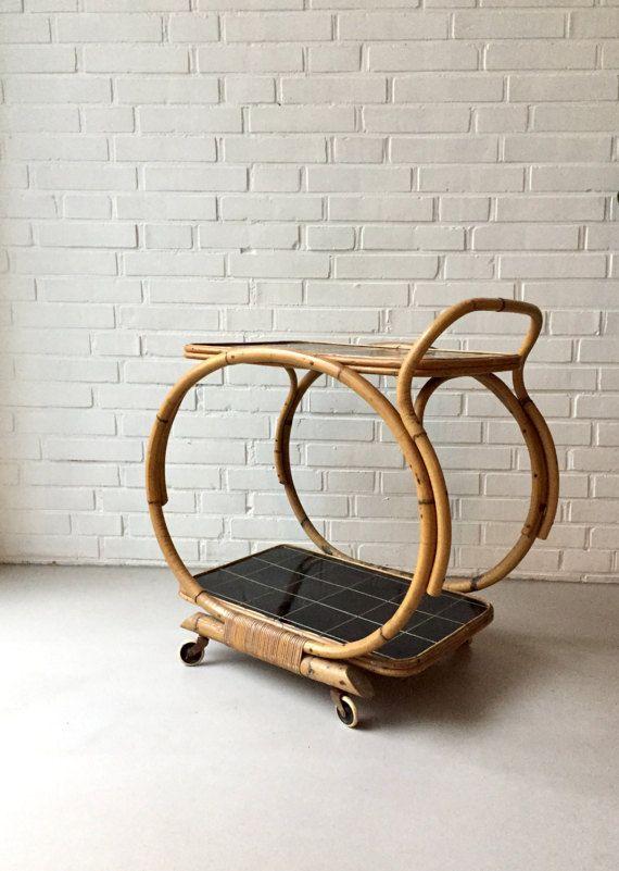 Vintage Rattan Teewagen Kleiner Tisch Bambus Mid Century Von Moovi