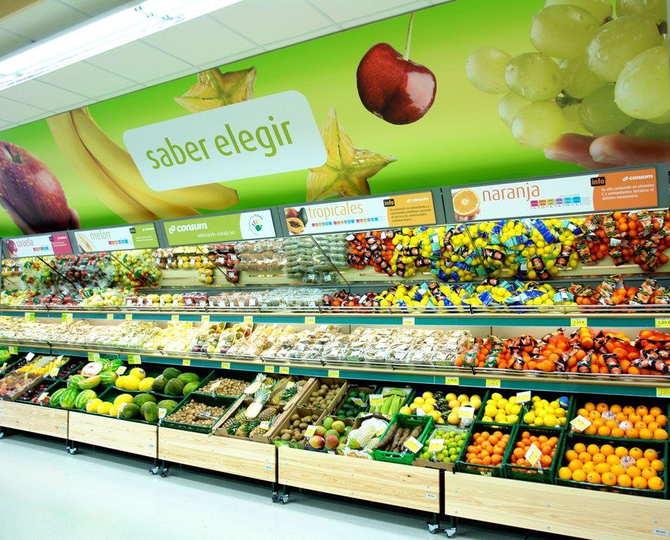 Seccion De Frescos Frutas Y Verduras Supermercado Pescaderia