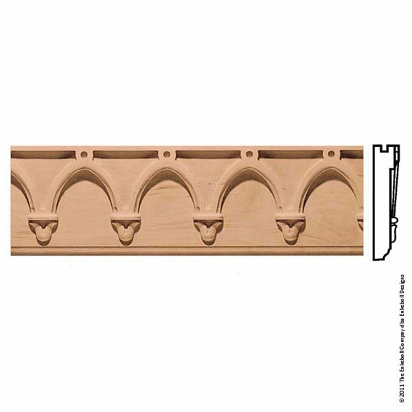 5 3 8 Inch W X 1 1 4 Inch P 4 Inch Repeat Molding Norman Arch 8 Apos Length Wood Crown Molding Architectural Elements Molding