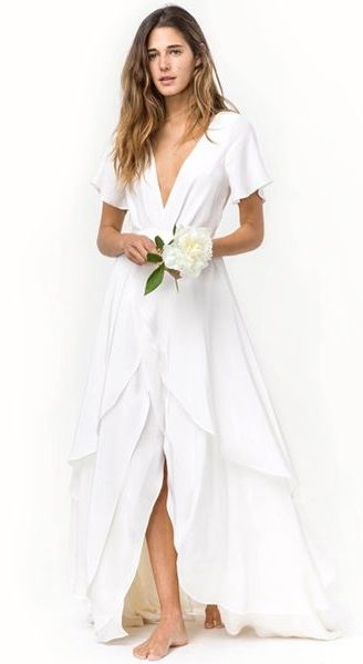 18 Stunning Wedding Dresses For The Beach Bound Bride Casual Beach Wedding Dress Casual Wedding Dress Beach White Dress